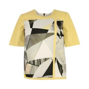 Helmut Lang S Yellow Leather Abstract Top Blouse